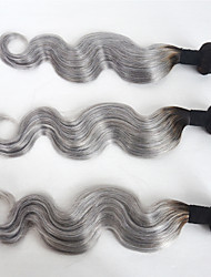 cheap -Indian Hair Body Wave Ombre Hair Weaves 3 Bundles Human Hair Weaves Black / Grey Human Hair Extensions