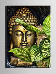 cheap -E-HOME® Stretched Canvas Art Bronze Buddha Decorative Painting One Pcs