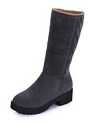 Women's Boots Comfort Combat Boots PU Winter Casual Walking Comfort Combat Boots Low Heel Black Gray 1in-1 3/4in