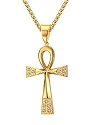 cheap -Men's Cross Shape Personalized Pendant Necklace Rhinestone Stainless Steel Rhinestone Gold Plated Imitation Diamond Pendant Necklace