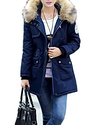 cheap -Women's Long Padded Coat,Simple Plus Size Solid-Cotton / Polyester Cotton Long Sleeve Hooded Red / Beige / Black / Green