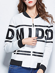 Women's Casual/Daily / Sports Street chic Jackets,Letter Round Neck Long Sleeve Fall / Winter White Polyester Thick