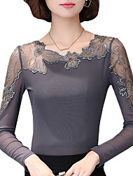 Fall Spring Women's Plus Size Go out Slim Was Thin Sexy Splicing Round Neck Long Sleeve Lace Blouse