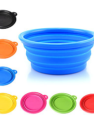 cheap -Dog Bowls & Water Bottles Pet Bowls & Feeding Portable Foldable Yellow Red Green Blue Blushing Pink