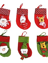 Christams Stockings New Year Candy Bag Stocking Christmas Decoration Santa Claus Socks Christmas Ornament 6 Pcs/Lot