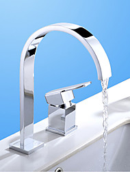 cheap -Contemporary Modern Widespread Waterfall Ceramic Valve Two Holes Single Handle Two Holes Chrome, Bathroom Sink Faucet
