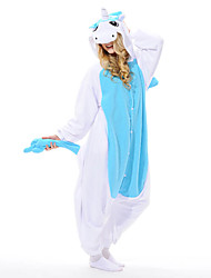 Kigurumi Pajamas Unicorn Leotard/Onesie Festival/Holiday Animal Sleepwear Halloween Blue Patchwork Polar Fleece Kigurumi For Unisex