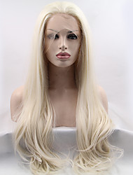 cheap -Synthetic Lace Front Wig Straight Natural Hairline Blonde Women's Lace Front Carnival Wig Halloween Wig Natural Wigs Long Synthetic Hair