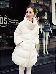 baratos -Mulheres Sólido Diário Casual Longo Duvet Manga Longa Inverno