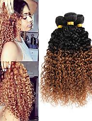 Недорогие -3 Связки Бразильские волосы Кудрявый / Кудрявое плетение Не подвергавшиеся окрашиванию Омбре Ткет человеческих волос Расширения человеческих волос