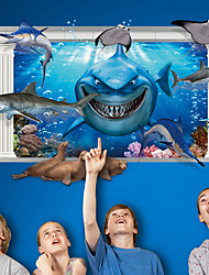 cheap -3D Underwater World Shark Seal 3D Wall Stickers Fashion Creative Living Room Bedroom Wall Decals