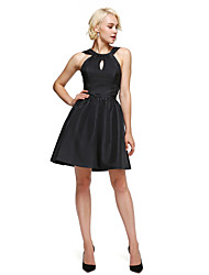 cheap -A-Line / Fit & Flare Halter Neck Knee Length Taffeta Little Black Dress / Keyhole Cocktail Party Dress with Draping by TS Couture®
