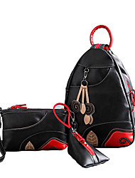 Women Bags All Seasons PU Bag Set 3 Pcs Purse Set for Shopping Casual Outdoor Office & Career Black/Red