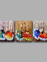 Stretched (Ready to hang) Hand-Painted Oil Painting 150cmx60cm Canvas Wall Art Modern Dance Girls Blue