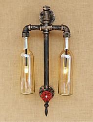 AC 220V-240V 6W e27 bgb007 americano - temático ferro restaurante bar com tubo interruptor de água garrafa de vinho lâmpada de parede