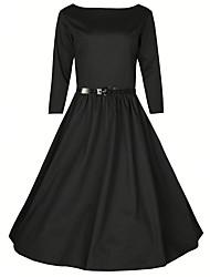 Gaine Robe Femme Décontracté / Quotidien Vintage,Couleur Pleine Col Arrondi Mi-long Manches Longues Bleu Rouge Noir Coton Polyester Eté