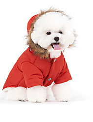 Cat Pets Dog Coat Hoodie Puffer / Down Jacket Dog Clothes Stylish Keep Warm Windproof High Quality Normcore Solid White Red Blue Costume
