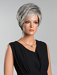 cheap -Fashion Short Grey Straight Capless Wigs High Quality Human Hair