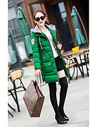 Damen Daunen Mantel,Lang Einfach Lässig/Alltäglich / Übergröße Solide-Andere Baumwolle Langarm Schwarz / Grün