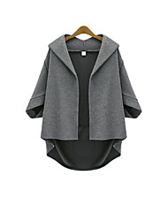 Women's Casual/Daily Simple Coat,Solid Shawl Lapel Long Sleeve Fall / Winter Gray Polyester Thick