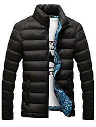 Men's Regular Padded Coat,Active Casual/Daily Solid Print-Polyester Polypropylene Long Sleeves