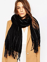 cheap -Unisex Cashmere Scarf Vintage Work Casual Rectangle Striped Double-sided shawl