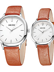 cheap -Couple's Fashion Quartz Casual Watch Simple Leather Belt Round Alloy Dial Watch Cool Watch Unique Watch kezzi