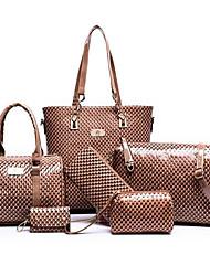baratos -Mulheres Bolsas PU Conjuntos de saco 6 Pcs Purse Set Preto / Vermelho / Azul