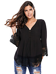 cheap -Women's Lace Detail Button Up Sleeved Blouse