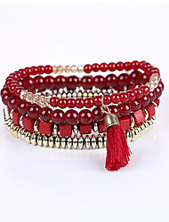cheap -Men's Women's Bracelet Strand Bracelet - Multi Layer Red Blue Light Blue Bracelet For Graduation Business Casual