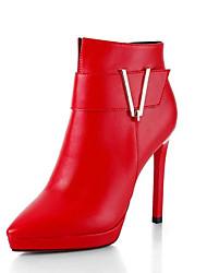 Da donna-Stivaletti-Formale Casual-Comoda-A stiletto-PU (Poliuretano)-Nero Rosso