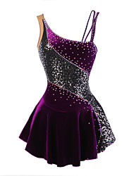 Robe de Patinage Artistique Femme Fille Patinage Robes Violet Velours Strass Fleur(s) Paillété Extensible Utilisation Tenue de Patinage
