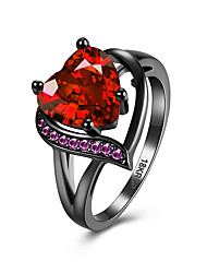 Heart shape red purple  large zircon finger  ring jewelry Engagement Rings