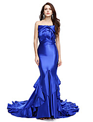 Mermaid / Trumpet Strapless Court Train Stretch Satin Formal Evening Dress with Ruffles Pleats by TS Couture®