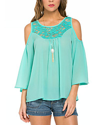 Women's Going out Casual/Daily Street chic Summer Blouse,Patchwork Round Neck ¾ Sleeve Polyester Others Thin