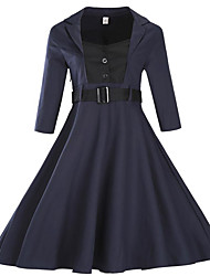 Women's Plus SizeSolid Shirt Collar Knee-length Long Sleeve Blue / Black Polyester Fall Mid Rise