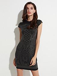 Damen Bodycon / Hülle Kleid-Lässig/Alltäglich Street Schick Druck Rundhalsausschnitt Mini Kurzarm Weiß / Schwarz Polyester Sommer