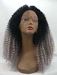 Sylvia Synthetic Lace front Wig Black Grey Ombre Hair  Heat Resistant Kinky Curly Synthetic Wigs