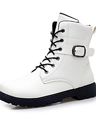 cheap -Men's Boots Spring Fall Comfort Microfibre Casual Flat Heel Lace-up Black White Walking