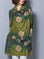 Ample Robe Femme Décontracté / Quotidien / Grandes Tailles simple,Imprimé Drapé Au dessus du genou Manches Longues Bleu / Vert Polyester