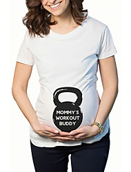 Maternity Casual/Daily Cute Summer T-shirtSolid Round Neck Short Sleeve Blue / White Cotton / Spandex Thin