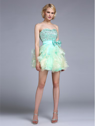 A-Line Sweetheart Knee Length Taffeta Cocktail Party Homecoming Dress with Beading by Sarahbridal