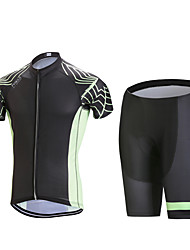 cheap -Men's Short Sleeves Cycling Jersey with Shorts - Black Geometic Bike Clothing Suits, 3D Pad, Quick Dry, Anatomic Design, Breathable,