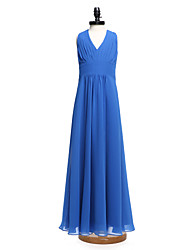 cheap -A-Line V Neck Floor Length Chiffon Junior Bridesmaid Dress with Draping by LAN TING BRIDE®