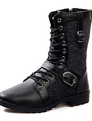 cheap -Men's Boots Fall Winter PU Outdoor Casual Flat Heel Applique Lace-up Studded Black