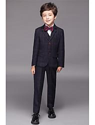 Burgundy Cotton Polyester Polester/Cotton Blend Serge Ring Bearer Suit - Five-piece Suit Includes  Jacket Pants Vest Shirt Bow Tie