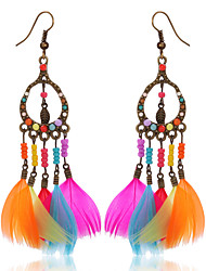 cheap -Women's Girls' Drop Earrings Jewelry Bohemian Fashion Feather Alloy Oval Wings / Feather Jewelry Party Casual