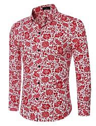 Chemise Hommes,Fleur Décontracté / Quotidien simple Printemps / Automne Manches Longues Col de Chemise Bleu / Rouge Coton Moyen
