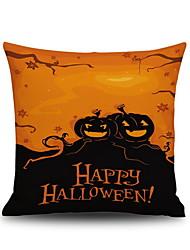 Happy Halloween Pumpkin 2 Square Linen  Decorative Throw Pillow Case Cushion Cover