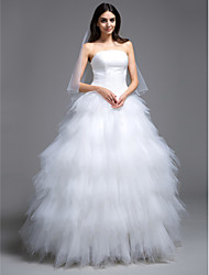 cheap -Ball Gown Strapless Sweep / Brush Train Tulle Wedding Dress with Ruche Tiered by LAN TING BRIDE®
